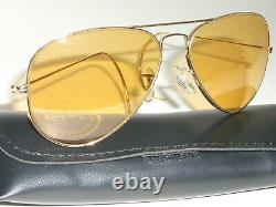 1960s Circa 58mm Vintage B&L ray ban Wrap-Arounds Ambermatic AVIATOR Lunettes