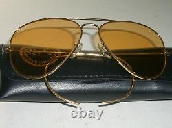 1980's 62mm Vintage B&L RAY-BAN Cable-Wraps Ambermatic Grand AVIATOR Sunglasses