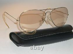 58 14mm Vintage B&L RAY-BAN 24K Gep Photo-Brown Changeables Aviator Lunettes