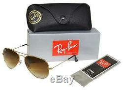 AUTHENTIC-RAY-BAN-AVIATOR-GOLD-RB3025/001/51-62MM-LARGE-BROWN Pente Lentille