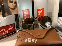 Authentic-Ray Ban AVIATOR-RB3025-GOLD-001/57-With