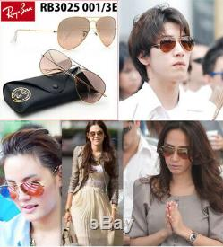 Authentic-Ray Ban-Aviator-Gold RB3025 58MM 001/3E-BROWN Argent Rose Miroir