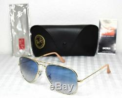 Authentic-Ray Ban-Aviator-Gold RB3025 58MM 001/3F-LIGHT Bleu Gradient-Genuine