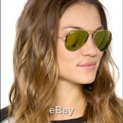 Authentic-Ray Ban-Aviator- Mat or RB3025 58-112/93 Brown-Mirror-Gold-Lenses