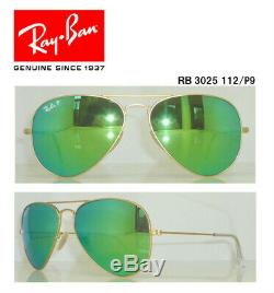 Authentic-Ray Ban-Aviator Or RB3025/112/P9-58MM Multi-Green Mirror-Polarized