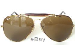 B&L RAY BAN 62mm Aviator Tortoise Bar Sunglasses Brown B15 Great Condition