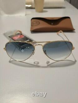 Lunettes de Soleil Ray-Ban AVIATOR RB 3025 Gold/Blue Shaded 58/14/135 unisexe