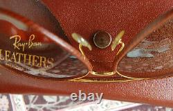 RAY- BAN Aviator Leather Verres B&L Ambermatic années 80