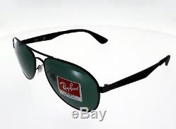RAY BAN New Aviator Noir mat ultra légère Taille M Mixte Indice 3 Verres Verts