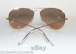 3bf6157f7f RAY BAN RB 3025 001 3E GOLD BROWN PINK MIRROR AVIATOR SUNGLASSES 55 mm SMALL
