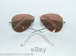 RAY BAN RB 3025 019/Z2 MATTE SILVER COPPER PINK MIRROR AVIATOR SUNGLASSES 58 mm