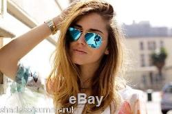 RAY BAN RB 3025 112/17 MATTE GOLD BLUE MIRROR AVIATOR SUNGLASSES 55 mm SMALL