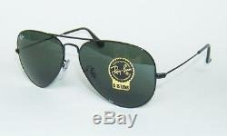 RAY BAN RB 3025 L2823 BLACK G-15 AVIATOR SUNGLASSES 58 mm MEDIUM