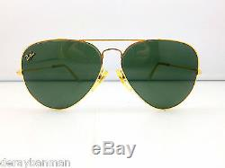 Ray Ban 24CT Gold Precious Metals B&L USA 62mm Aviator Large Metal II + Case