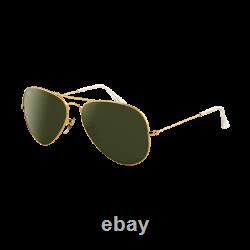 Ray-Ban Aviator Doré Vert Classique G-15 RB3025 W3234 55 Taille Medium