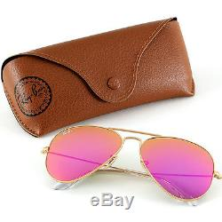 Ray-Ban Aviator Gold Sunglasses with Pink Mirrored Lenses, RB3025 112/4T Women