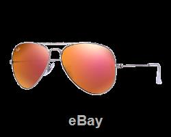 Ray-Ban Aviator Large Flash Argent Brun Rose Miroité RB3025 019/Z2 58