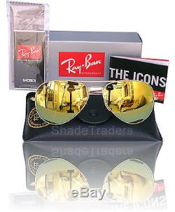 Ray Ban Aviator Unisex Sunglasses GOLD MIRROR over BROWN_MATTE GOLD 3025 112 93