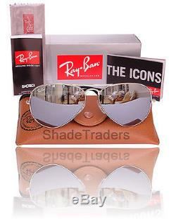 Ray Ban Aviator Unisex Sunglasses Silver Mirror 3025 W3275 55mm Small Adult
