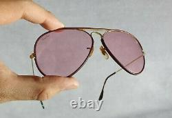 °Sunglasses Ray-Ban B&L Aviator 58-14 Leathers Changeable rose L0034 80's