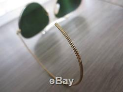 VINTAGE 1960's B&L RAY-BAN AVIATOR OUTDOORSMAN 62mm GREEN LENS GOLD SUNGLASSES