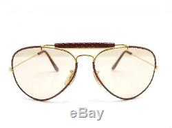 Vintage Lunettes De Soleil Ray Ban Leather Aviator Metal Dore & Cuir Sunglasses
