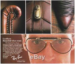 Vintage Ray Ban B&L USA LEATHERS CHANGEABLES AVIATOR Sunglasses gold brown 1980s