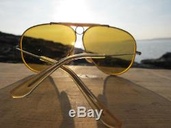 Vintage Ray Ban B&L U. S. A. Ambermatic Shooter 1/30 10 K GO Aviator Sunglasses
