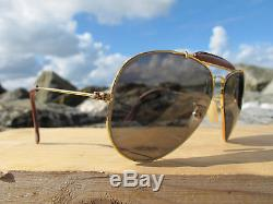 Vintage Ray Ban B&L U. S. A. Leathers Changeables ODM 70's Aviator Sunglasses