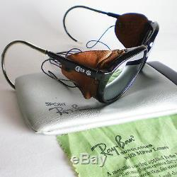 d2071f03bc3a3 Vintage Ray Ban CATS 7000 GLACIER Sunglasses side shield leathers mirror  aviator