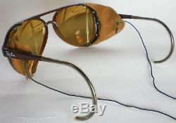 Vintage Ray Ban CATS 8000 GLACIER Sunglasses side shield leathers mirror aviator